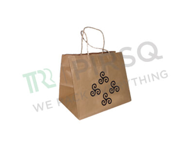 "Brown Paper Bag With Handle With Logo | Screen Printing | W-9.5"" X L-6"" H-8"" Image"