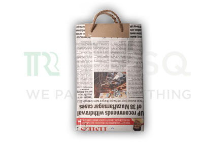 "Newspaper Bag With Handle | H-10"" x W-6"" Image"