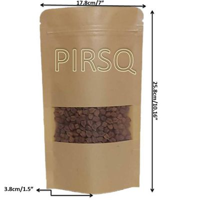 "Kraft Stand Up Paper Pouches With Window | W-7"" x H-10"" Image"