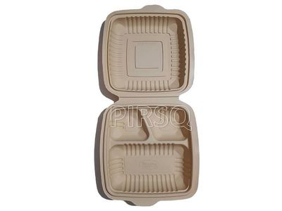 Biodegradable Meal Tray With Lid | 3 COMPARTMENT Image