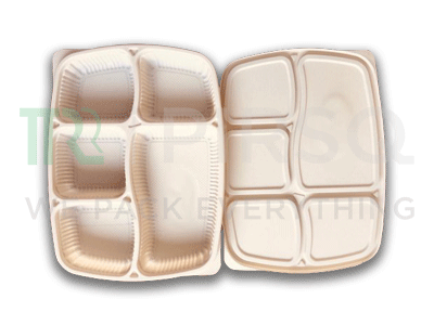 Cornstarch Meal Tray With Lid | 5 Compartment Image