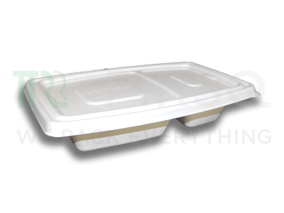 Bagasse Container 700 ML With Lid | 2 Compartment Image